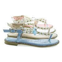 Apollo18K Children Girls Pearl & Sparkly Rhinestone Flat Sandal, Kid Shoe