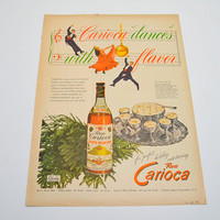 Vintage  Rum Carioca Ad, Puerto Rican Rum,  Christmas Advertisement, Caricoa Dances with Flavor, Original Advertising, 1946