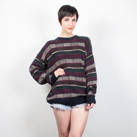 Vintage 90s Sweater 1990s Sweater Soft Grunge Sweater Striped Color Block Boho Boyfriend Sweater Pullover Cozy Knit Jumper M L Large XL