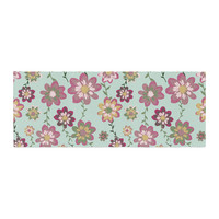 """Nika Martinez """"Romantic Floral in Mint"""" Pink Teal Bed Runner"""