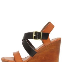 Tone It Up Black and Tan Wedge Sandals