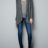 CARDIGAN WITH FAUX LEATHER SHOULDER PATCHES - Blazers - Woman - ZARA United States