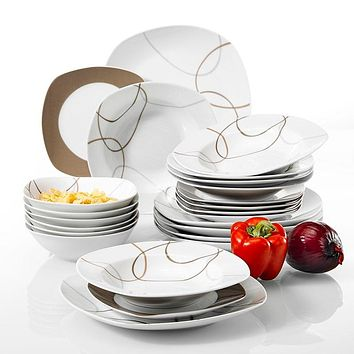 24-Piece Kitchen Dinner Combi-Set Porcelain Tableware Plate Set with Bowls,Dessert Plate,Soup Plates,Dinner Plate