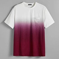Fashion Casual Men Pocket Patched Ombre Tee