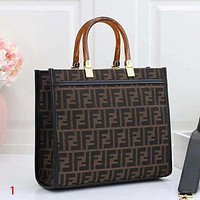 FENDI Fashion Leather Handbag Satchel Tote Bag