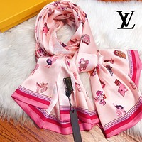LV Louis Vuitton New Summer Women Pink Scarf Shawl Silk Scarf