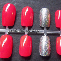 Neon False Nail Set with Holo Silver Glitter Accent