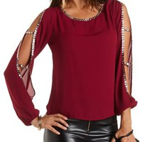 Jeweled Cold Shoulder Cut-Out Top by Charlotte Russe - Oxblood