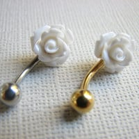 Belly Button Jewelry Ring White Flower Rose Bellybutton Ring Silver and Gold