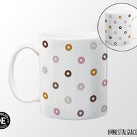 Donut Patterned Coffee Mug - 11 oz Coffee Mug - Chocolate Donut - Strawberry Donut - Doughnuts - Sprinkle Donuts