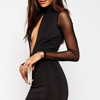 Black Bodycon Dress with Long Mesh Sleeve