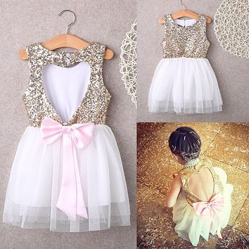 Sequins Party Gown Mini Ball Formal Love Backless Princess Bow Backless Gown Dress Girl