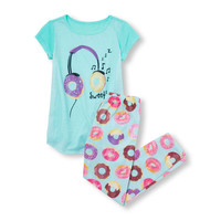 Girls Short Sleeve 'Sweet' Donut Headphones Graphic Top And Printed Pants PJ Set 2-Pack | The Children's Place