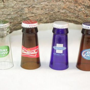 Shot Glasses Upcycled from Budweiser Beer Bottles, Upcycled Beer Bottle, ONE Shot Glass