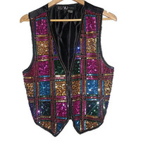 Vintage SEQUIN VEST Zips Up Rayon and Silk Colorful Sparkles Color block Festival Rave Boho Bohemian Hippie Size Small Medium