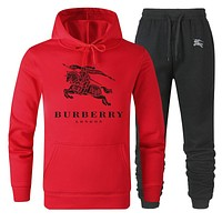 BURBERRY Popular Women Men Lover Top Sweater Pants Trousers Set Two-Piece Sportswear Red