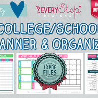 College/School Planner & Organizer PRINTABLE - 13 DOCUMENTS - Monthly and Weekly (College/School and Dorm Essentials Check List Included)