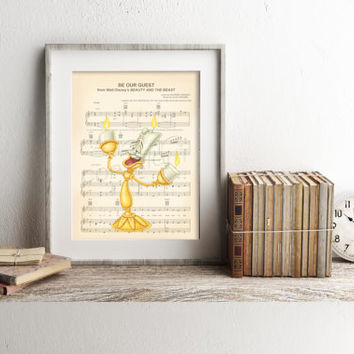 Beauty and the Beast Lumiere Be Our Guest Sheet Music Art Print