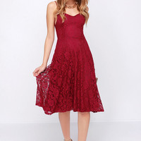 On the Boulevard Burgundy Lace Midi Dress
