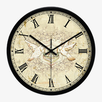 Vintage Art Wall Clock With Two Birds In Black