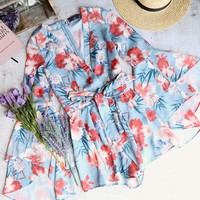 on the double - floral romper - blue