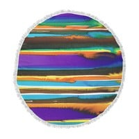 """Miranda Mol """"Multicolor Sunset"""" Purple Gold Abstract Stripes Watercolor Painting Round Beach Towel Blanket"""