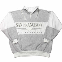 "Vintage 1980s San Francisco ""City By The Bay"" 1/4 Zip Sweatshirt Mens Size Large (Slim Fit)"