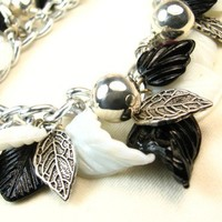 Black, White and Silver Leaves Beaded Chain Bracelet