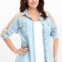 Plus Size Houston Powder Blue Denim and Lace Shirt | Fashion To Figure