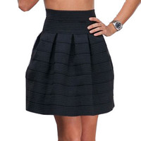 Elastic High Waisted Striped Hip Pleated Mini Skirt