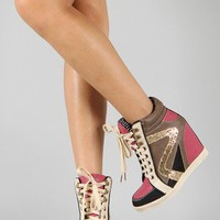 Bamboo Jodie-01 Multicolor High Top Lace Up Wedge Sneaker