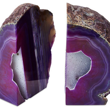 Large Geode Bookends, Purple, Set of 2, Bookends