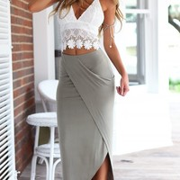 Two Pieces Women Sexy Clothes Strap Backless Lace Crop Top and Split Skirt Set Dresses
