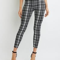 Plaid Stretch Cotton Leggings | Charlotte Russe