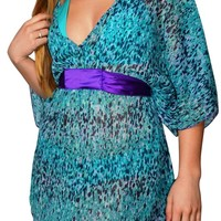 Ladies Sheer Blue Elbow length with purple sash belt Swim Cover Up