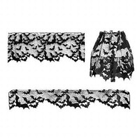 Bats Lace Valance, Mantle Scarf, Lamp Shade | Halloween Decor at Sin in Linen