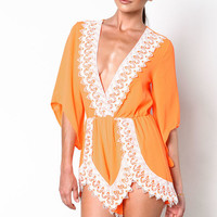NEON ORANGE CROCHET WRAP ROMPER