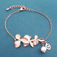 Personalized, Letter, Initial, White, Pearl, Orchid, Flower, Rose gold, Bracelet, Birthday, Wedding, Best friends, Sister, Gift, Jewelry