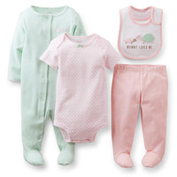 """Carter's Girls 4 Piece Pink/Mint  """"Mommy Loves Me"""" Turtle Print Bib, Footie, Short Sleeve Bodysuit and Footed Pant Set"""