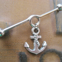 Anchor Industrial Piercing Barbell Jewelry 14g 14 G Gauge Charm Dangle