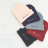 Champion Embroidery Two-sided Logo Knit Hat