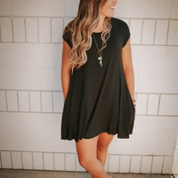 Black Tshirt Pocket Dress - SM-3XL