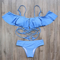 Push Up Swimsuit Swimwear Women  Bat Sleeves Bikini Set