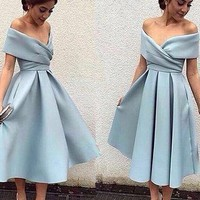 Baby Blue Off Shoulder Homecoming Dress