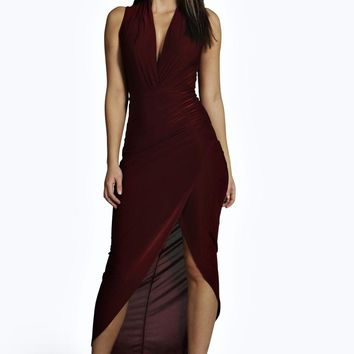 Lyra Slinky Asymmetric Plunge Maxi Dress