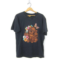 Puppy Dog and Butterfly T Shirt Faded Black Cotton Tee Shirt 1980s Novelty Tshirt Retro Hipster Top Tshirt size Large