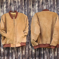 Vintage man's brown genuine leather jacket man's genuine leather winter jacket leather jacket coat Size L