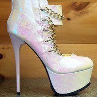 """Chibela Iridecent White  Gold Chain Ankle Boot Shoes -6"""" Heel"""