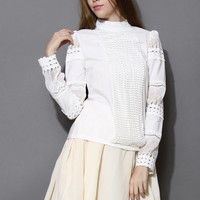 Victoria Lace Paneled Top  White