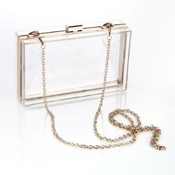 Masione Luxury Handbag Transparent Rectangle Clear Evening Clutches Shoulder Purse Prom Bag for Women Ladies Wedding Party